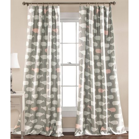 Lush Home Whale Print Window Curtain Set