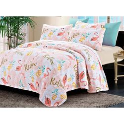 New! By The Seashore Flamingo Relax Quilt Set