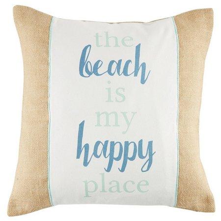 Elise & James Home Happy Place Burlap Pillow