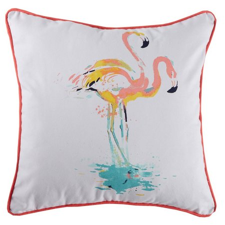 Red Pineapple Watercolor Flamingo Decorative Pillow