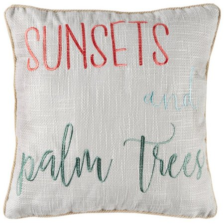 Red Pineapple Sunsets And Palm Trees Decorative Pillow