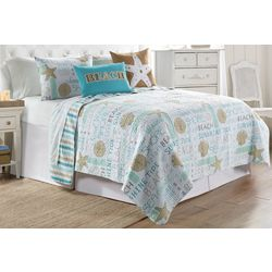 Elise & James Home Seahorse Typography Quilt Set