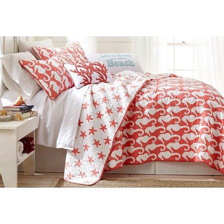 Elise & James Home Seahorse Coral Quilt Set