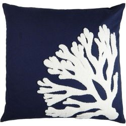 Elise & James Home Embroidered Coral Blue Pillow