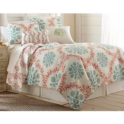 Elise & James Home Coral Trellis Quilt Set