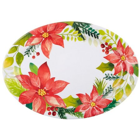 Brighten the Season Poinsettia Oblong Platter
