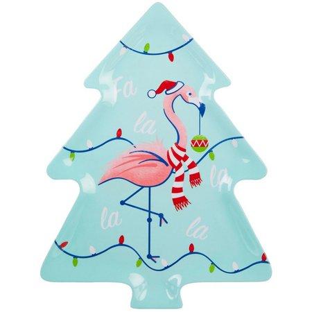 Brighten the Season Festive Flamingo Tree Plate