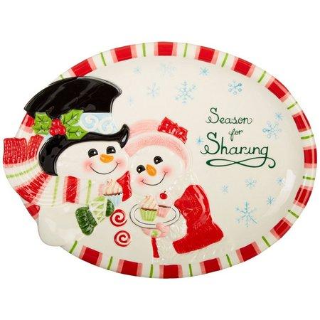 Fitz & Floyd Flurry Folk Snowman Platter