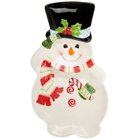 Fitz & Floyd Flurry Folk Snowman Chip &