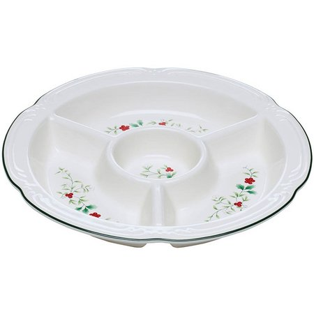 Pfaltzgraff Winterberry 4 Section Chip & Dip Tray