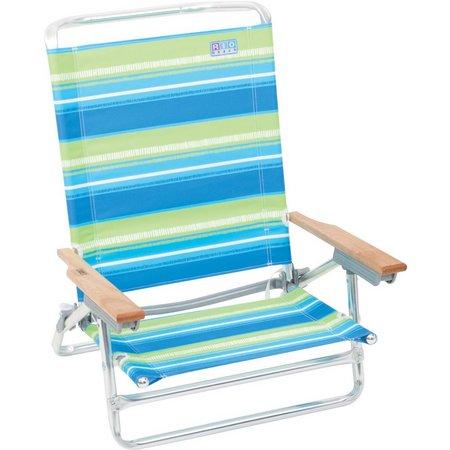 Rio Brands Striped Lay Flat Beach Chair