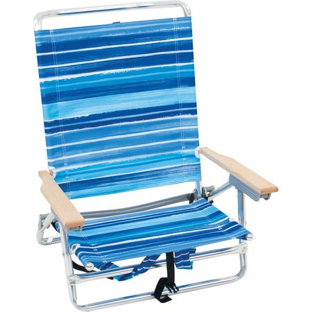 Rio Brands Blue Stripe Backpack Beach Chair
