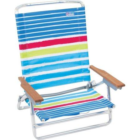 Rio Multi Stripe Print 5 Position Beach Chair