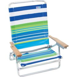 Rio Green Stripe Print 5 Position Beach Chair