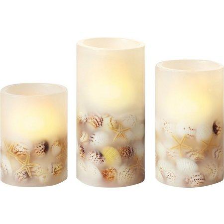 Apothecary 3-pc. Seashell White LED Candle Set