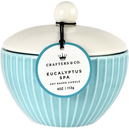 Crafters & Co. Eucalyptus Spa Ceramic Jar Candle
