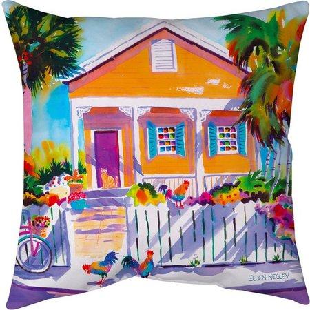 Ellen Negley Key West Calico Outdoor Pillow