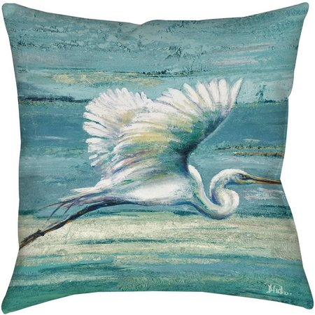 Manual Woodworkers Great Egret Decorative Pillow