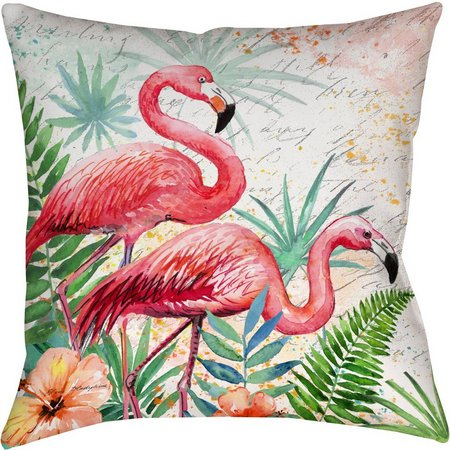 Manual Woodworkers Garden Flamingo Decorative Pillow
