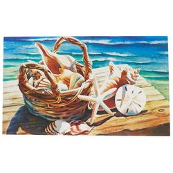 Custom Decor Shells In Basket Outdoor Mat