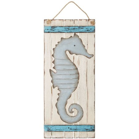 Beach Combers Large Metal Seahorse Sign