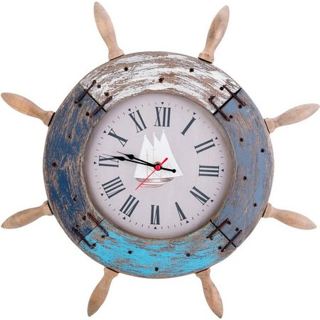 Beach Combers Ships Wheel Wall Clock