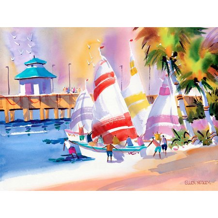 Ellen Negley Sailor Sunsets Canvas Art