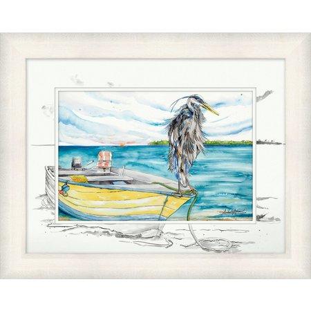 Amber Moran Blue Heron Boat Framed Art