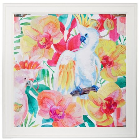 Coastal Home Colorful Cockatoos Framed Art