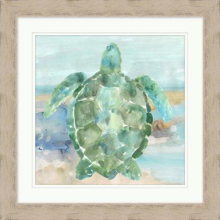 Coastal Home Green Turtle Framed Art