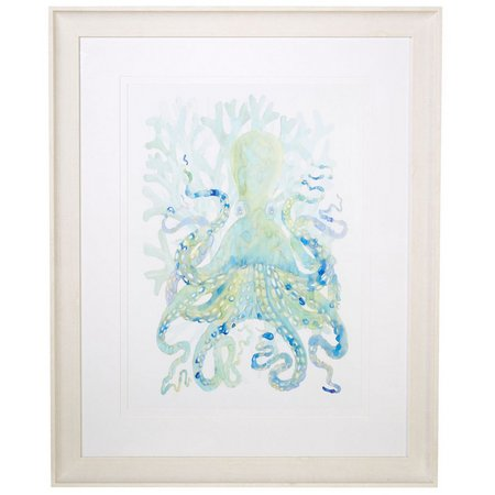 Coastal Home Sea Life Octopus Framed Art