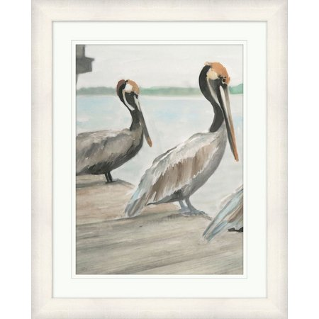 Coastal Home Pelicans On The Dock Framed Art