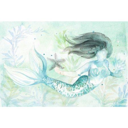 Palm Island Home Mermaid Watercolor Wall Art