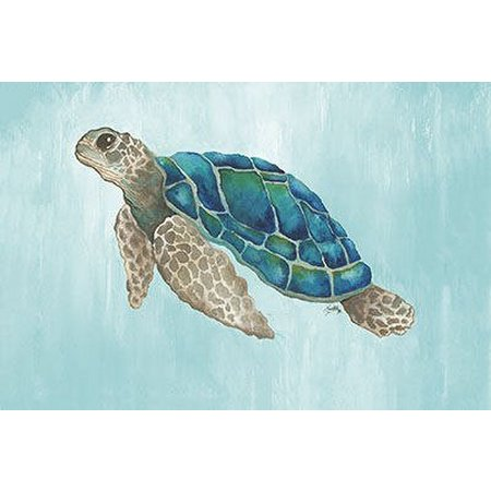 Palm Island Home Watercolor Sea Turtle Wall Art
