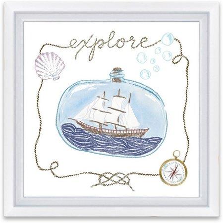 Artissimo Explore Ship In Bottle Framed Wall Art