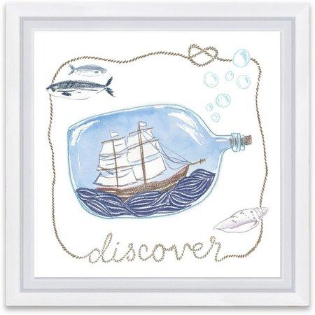 Artissimo Discover Ship In Bottle Framed Wall Art