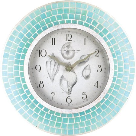 FirsTime 12'' Blue Mosaic Clock
