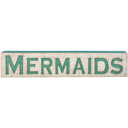New! Primitives By Kathy Mermaid Carved Wood Sign