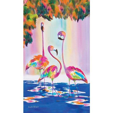 Ellen Negley Funky Flamingos Plank Art