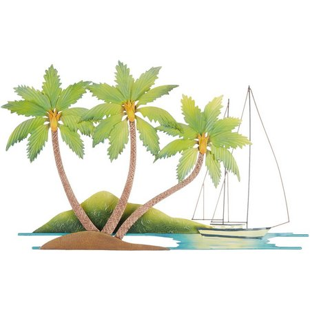 T.I. Design Metal Palm Tree Sail Boat Wall