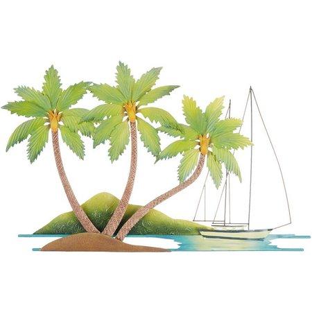 T.I. Design Metal Palm Tree Sail Boat Wall