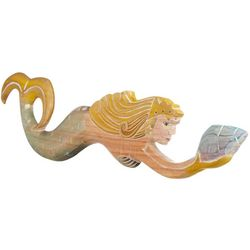 New! T.I. Design Handcarved Mermaid With Shell Wall