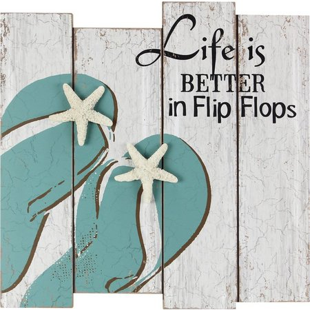 Palm Island Home Flip Flops Wood Wall Art