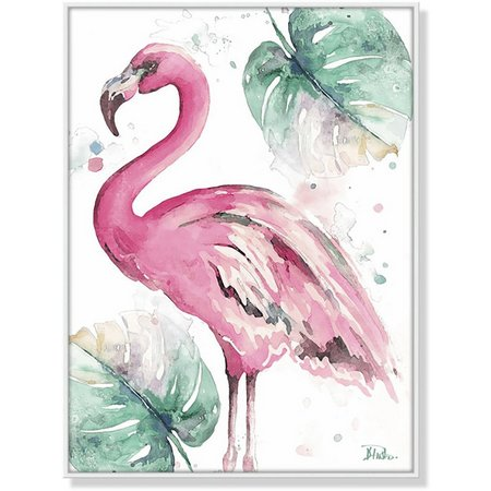 Palm Island Home Flamingo & Palm Leaf Framed