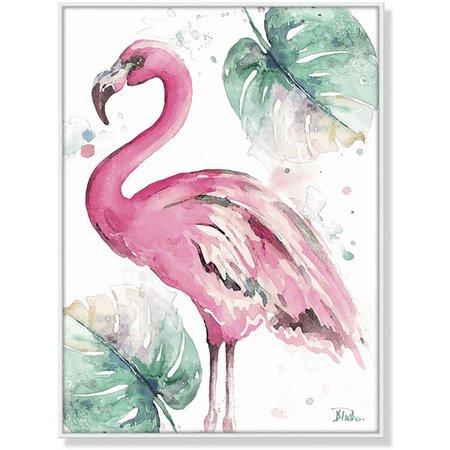 Palm Island Home Flamingo & Palm Leaf Framed