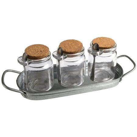 Artland Oasis Galvanized Steel 3 Jar Condiment Set