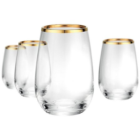 Artland Gold Band 4-pc. Stemless Wine Goblet Set