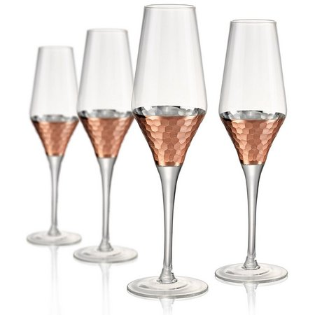 Artland Coppertino Hammered 4-pc. Flute Glass Set