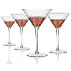 Artland Coppertino Hammered 4-pc Martini Glass Set