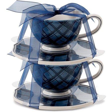 Fitz & Floyd Bristol Indigo Tartan Tea Cup